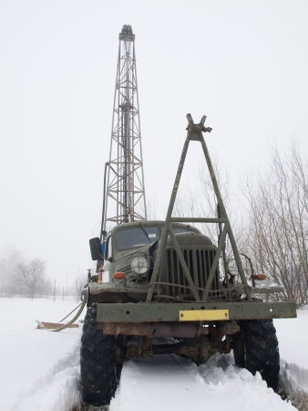 prospection: Old russian truck with mobile drilling rig Stock Photo