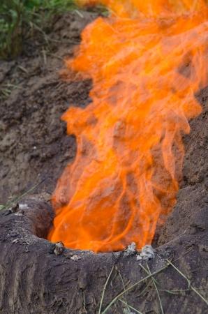 forgeman: Handmade historic iron furnace on fire