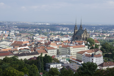View over historic center of Brno city with Petrov cathedral, Czech republic