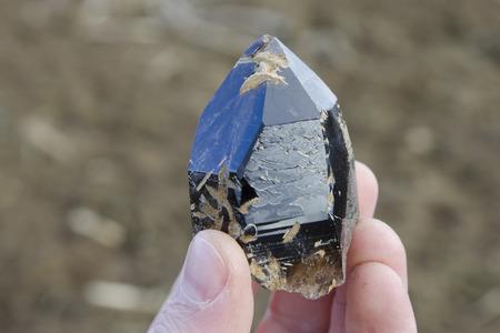 Freshly found dark and gemmy smoky quartz crystal