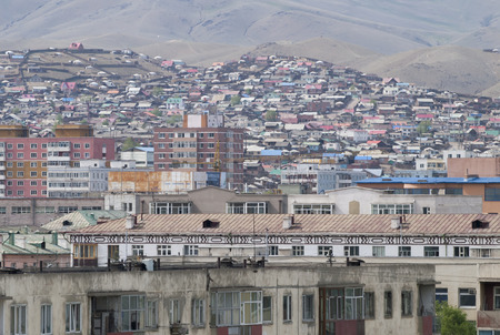 ger: View from center to the slums of Ulaanbaatar city, Mongolia