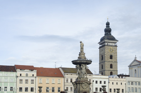 budejovice: Historic buildings with Black tower and Samson fountain in Ceske Budejovice, Czech republic