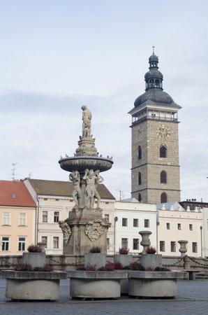 ceske: Historic buildings with Black tower and Samson fountain in Ceske Budejovice, Czech republic