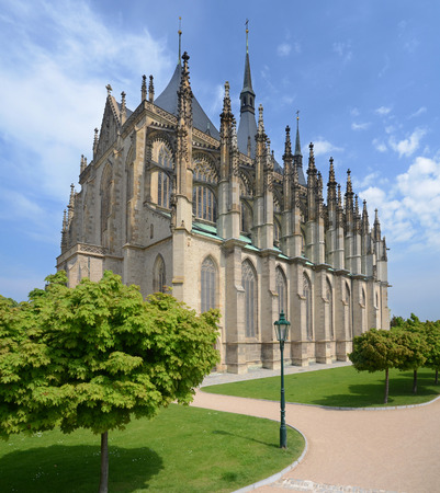 Panorama of St  Barbora gothic cathedral, Czech republic photo