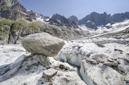 Heavily cracked Leschaux glacier and mountains of the french Alps