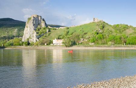 morava: Junction of Dunaj (Donau) and Morava rivers at the ruin of Devin castle Editorial
