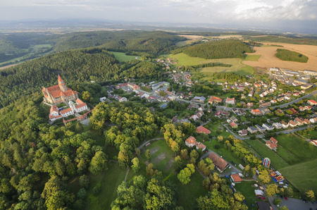 Aerial view of the gothic castle and village Bouzov, Czech Republic photo
