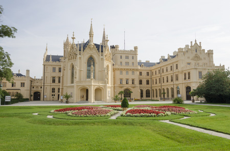 Neogothic Lednice chateau with flowering garden, Czech republic