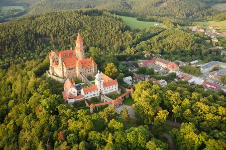 Aerial view of the gothic castle Bouzov, Czech Republic photo