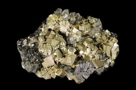sphalerite: Cluster of pyrite, sphalerite and quartz crystals Stock Photo