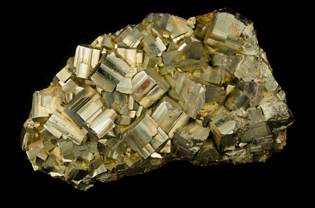 sulfide: Big cluster of pyrite cubes from Elba, Italy Stock Photo