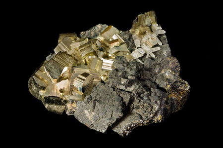 crystalline gold: Cluster of pyrite crystals from Huanzala, Peru Stock Photo