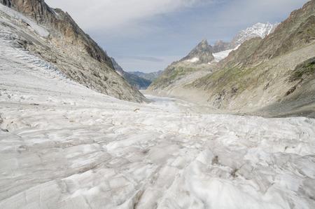crevasse: Leschaux glacier landscape in the French Alps