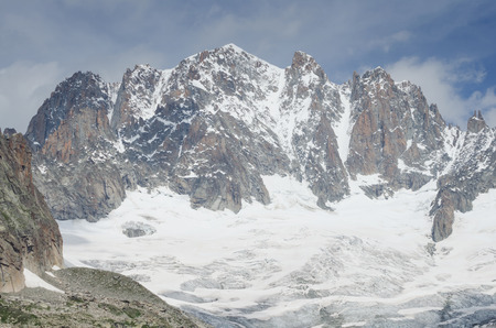 crevasse: Talefre glacier and mountains peaks in the French Alps near Chamonix Stock Photo