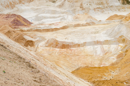 an excavation: Excavation of pure quartz sands for glass and ceramics industry Stock Photo