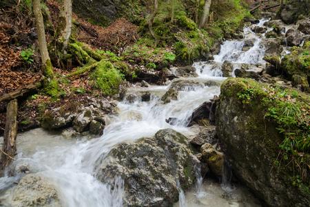Swift water stream with waterfalls landscape in Mala Fatra NP, Slovakia