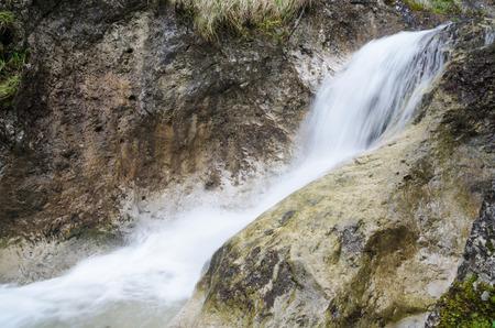 Small waterfall in the rocky in the rocky glen in Mala Fatra NP, Slovakia