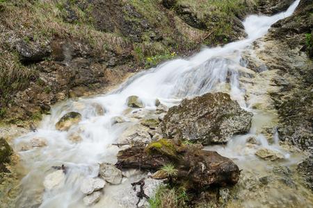 Swift creek with waterfall cascade in rocky canyon, Mala Fatra NP, Slovakia