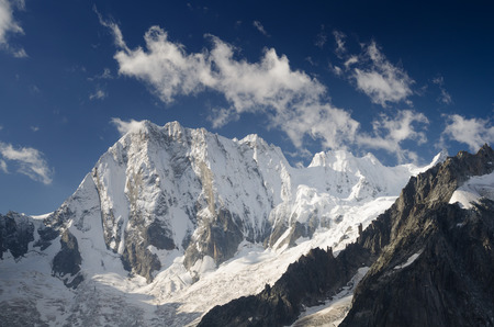 North wall of Grandess Jorasses covered by fresh snow, french Alps, Chamonix, France Stock Photo