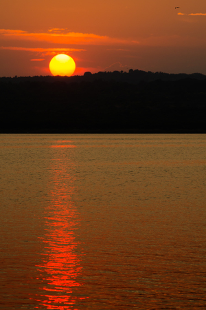 Colorful sunset over the ocean with colorful sky, Istria peninsula, Croatia Stock Photo