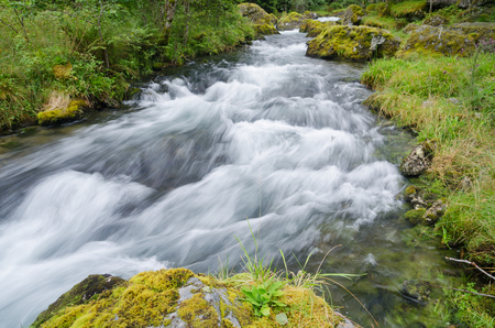 Swift creek with rapids in the Folgefonna national park, Norway Stock Photo