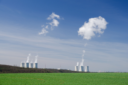 Steaming cooling towers of nuclear power plant in Dukovany, Czech Republic