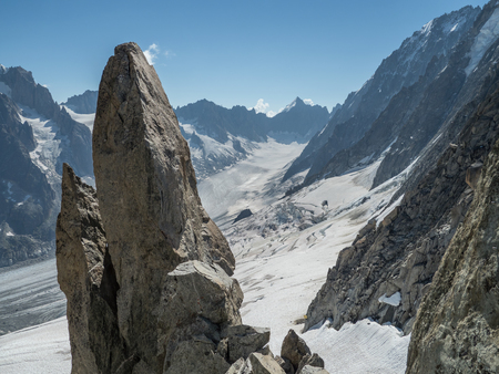 Argentiere glacier and mountains landscape in the French Alps