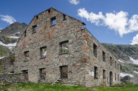 Ruined stone building of the abandoned gold mine under Hohe Sonnblick peak, Hohe Tauern NP, Austria
