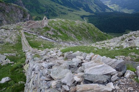 Ruined stone building and transport path of the abandoned gold mine, Hohe Tauern NP, Austria