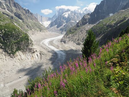 Mer de Glace glacier valley and mountains landscape near Chamonix, French Alps