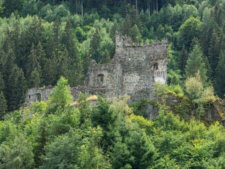 Ruined walls of the medieval central-european castle Kienburg near Matrei in Osttirol, Austria