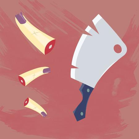 carver: Cleaver and fingers horror set Illustration