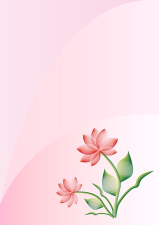 pink background with stylize flower Illustration