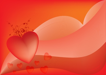 red abstract background with heart Illustration