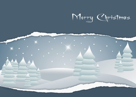Card with the image of a Christmas landscape Illustration