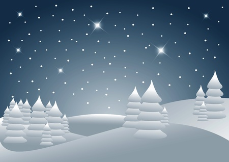 blue and white christmas landscape with tree Vector