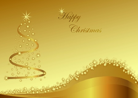 Gold christmas abstraction with stars on the gold background Illustration