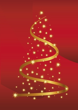 Gold christmas abstraction with stars on the red background