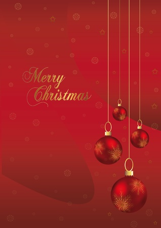 elegant christmas background with red and gold christmas ball Vector
