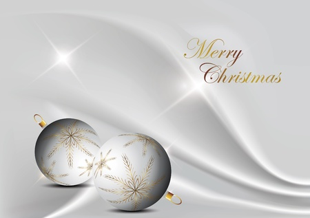 silver elegant christmas background with christmas ball