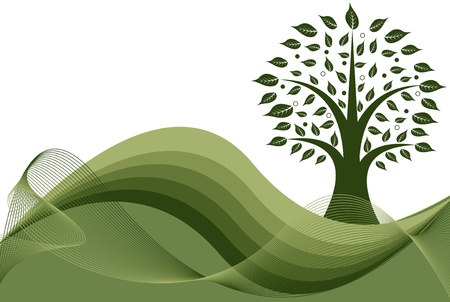 abstract tree with green waves background Illustration