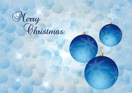 blue elegant christmas background with christmas ball Stock Photo