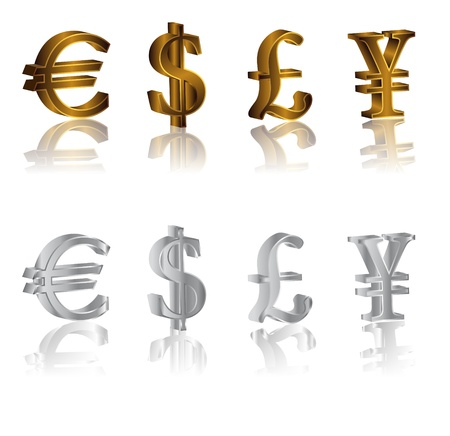 Vector metallic euro, pound, dollar, yen, sign isolated on white background Illustration