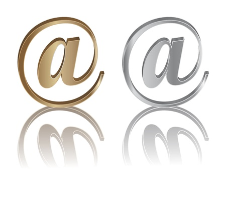 gold and silver e-mail internet icon with reflection Stock Vector - 10999510