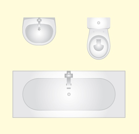 basin: vector basin, bathtub an toilet - floor plan Illustration
