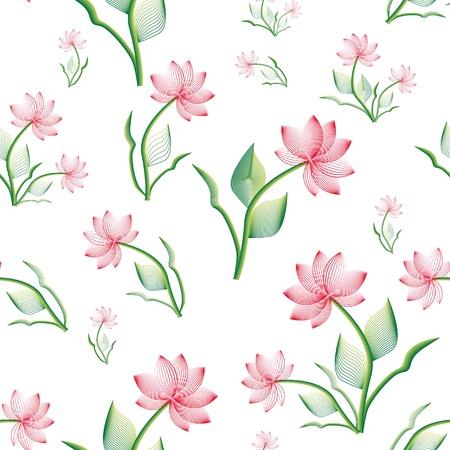 stylize: naadloze patroon met roze stileren bloem Stock Illustratie