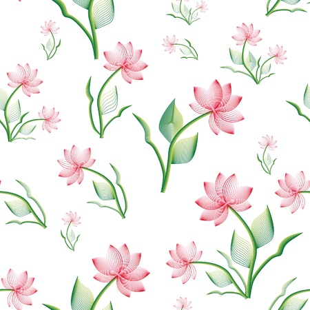 seamless pattern with pink stylize flower Illustration