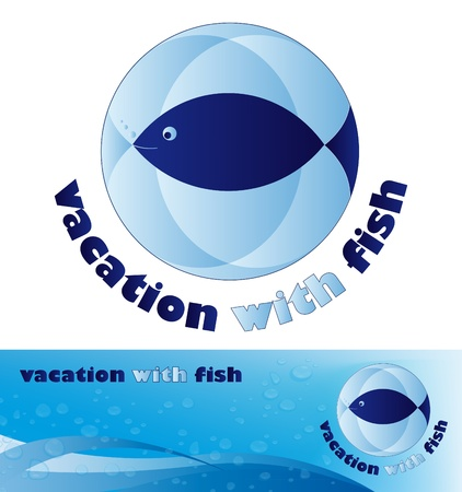 blue logo with fish and banner with water, wave and bubble Vector