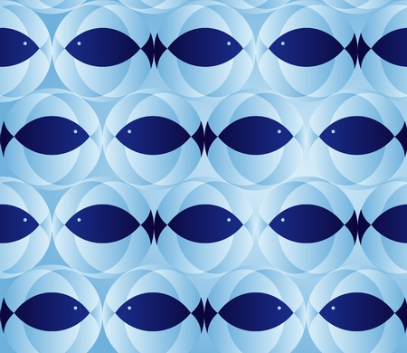 blue seamless pattern with fish  Vector
