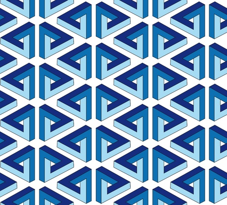 ornate blue seamless pattern with illusion triangle on white background Vector